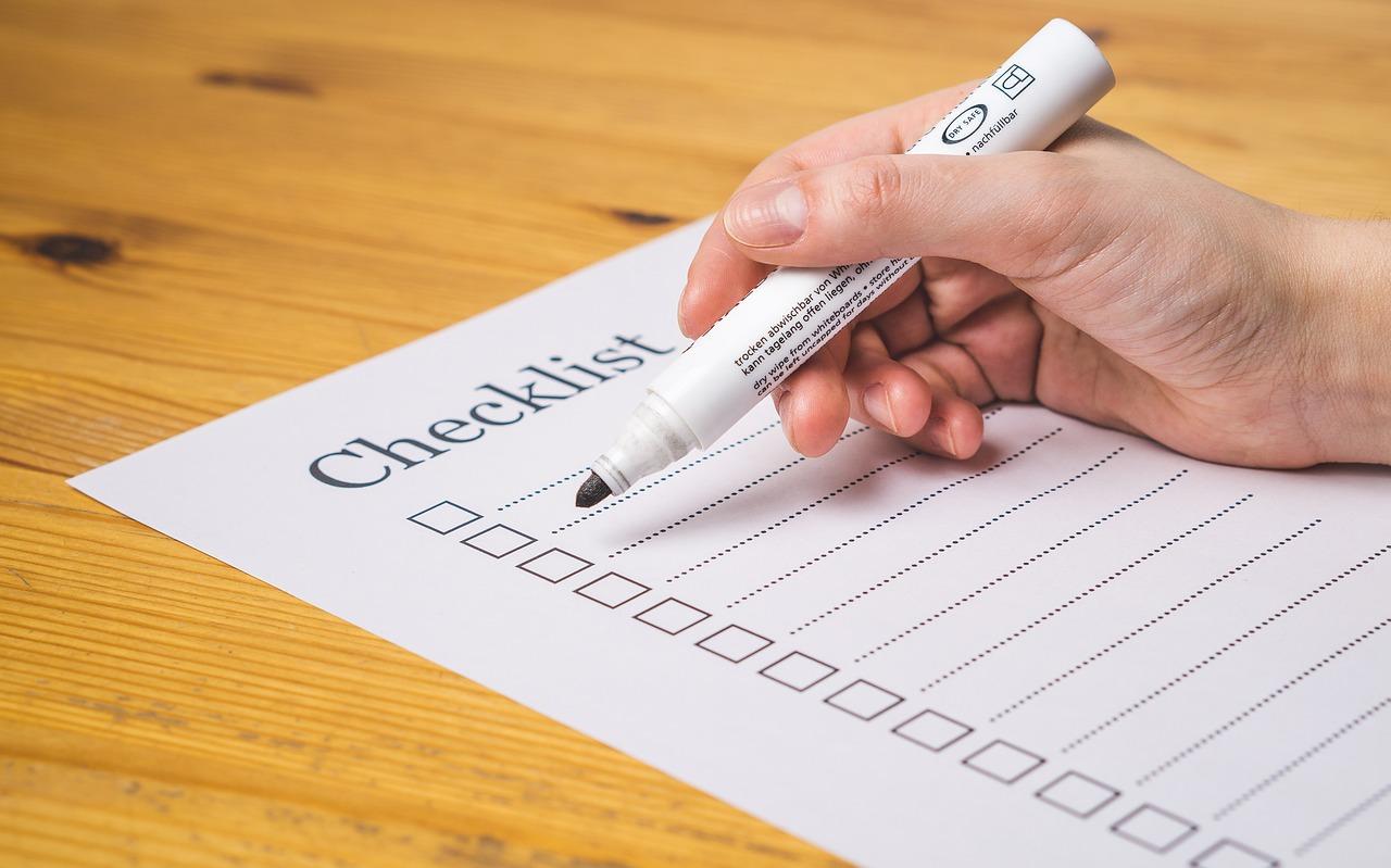 Checkliste um Zuhause zu finden